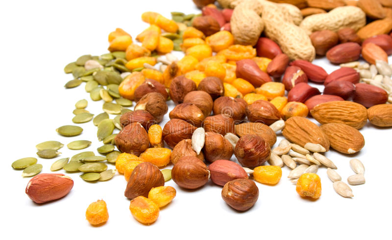 blandat nuts frö arkivfoton