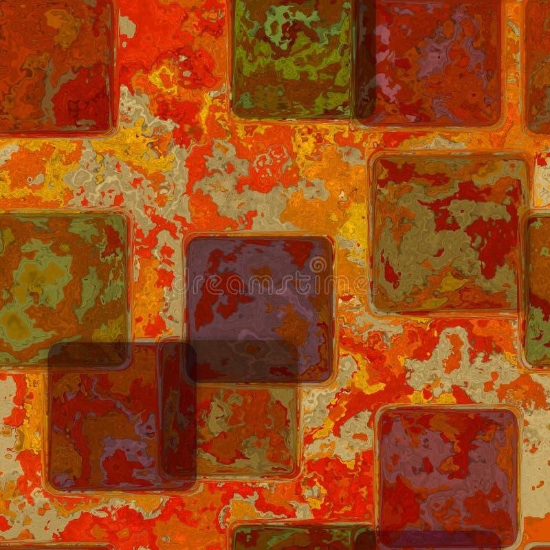 Blandning av färgrika tegelplattor på röd nedfläckad bakgrund med pergamentramen på gränsen med tappninggrungetextur och urblekt  royaltyfri illustrationer