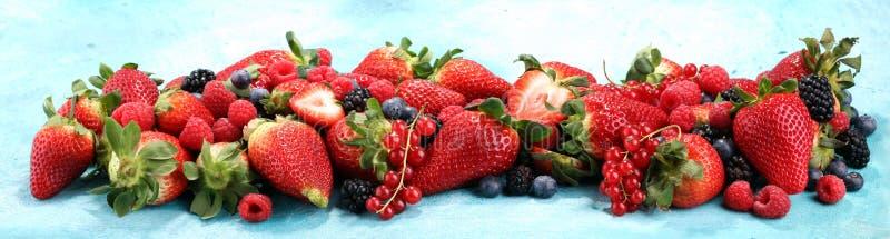 Blandning för över huvudet closeup för bär färgrik blandad av jordgubben, bl royaltyfria bilder
