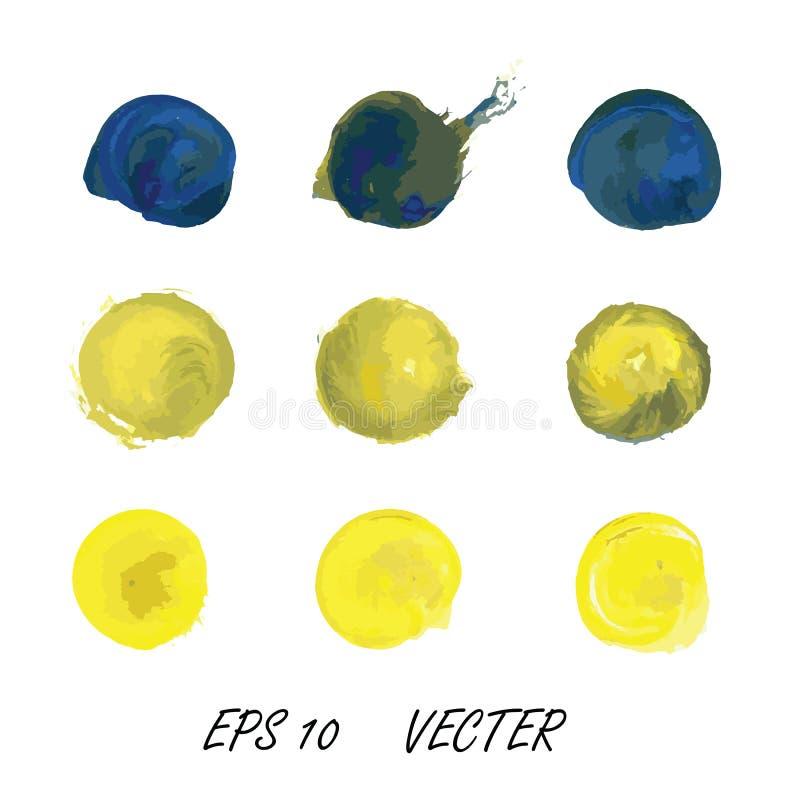 Blandning för vattenfärg av blått och guling royaltyfria bilder