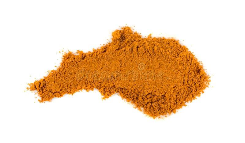 Blandningen av indiska krydda- och ?rtpulver isolerade arkivbilder