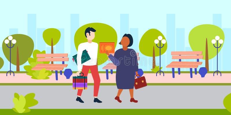 Blandningloppstudenter som rymmer böcker grabben och flickan som tillsammans wolking den stads- staden, parkerar tecken för utbil stock illustrationer