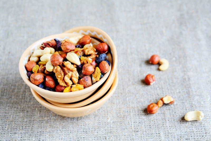 Blandningmuttrar - valnötter, hasselnötter, mandlar, russin arkivfoton