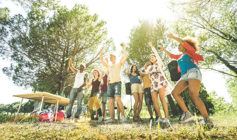 Blandras- vänner som har gyckel på det trädgårds- partiet för grillfestpic-nic royaltyfri foto