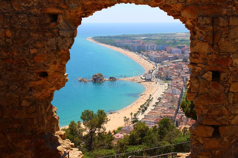 Blanes from the Castillo of San Juan stock photography