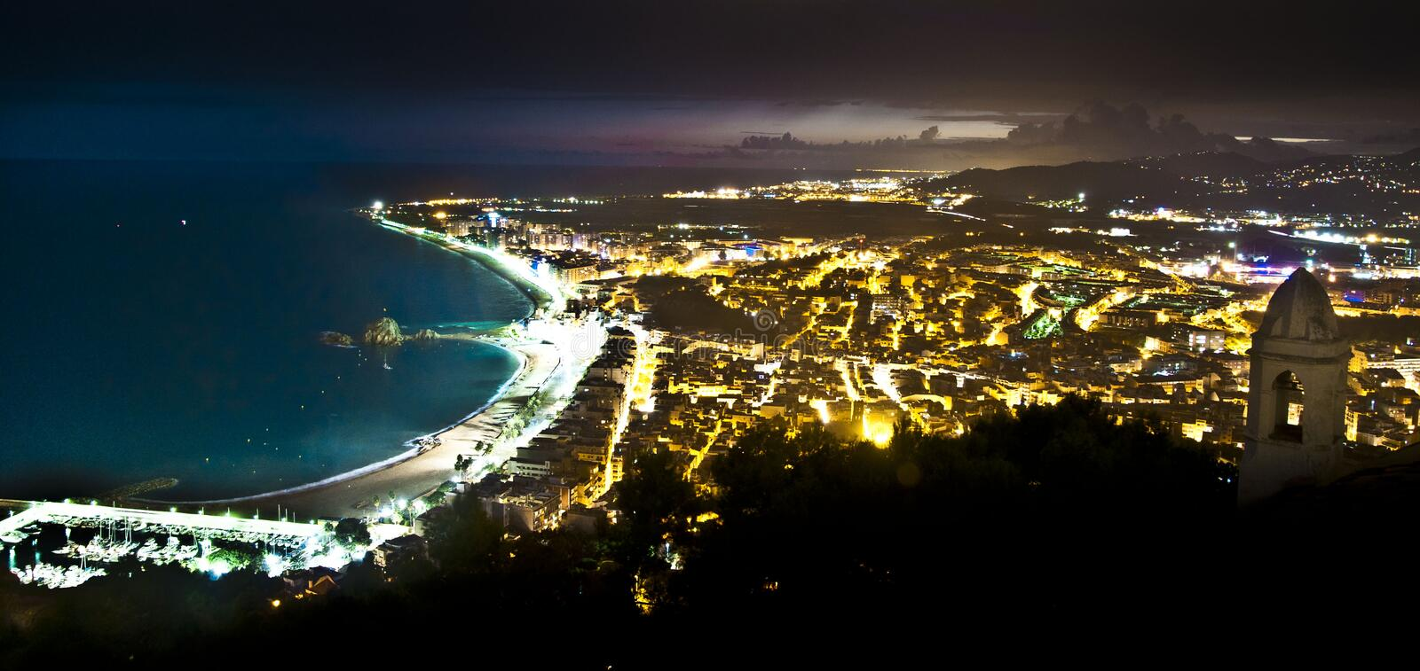 Blanes at night royalty free stock photo