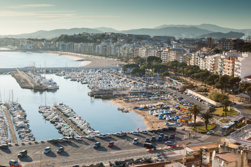 Blanes sunset royalty free stock photo