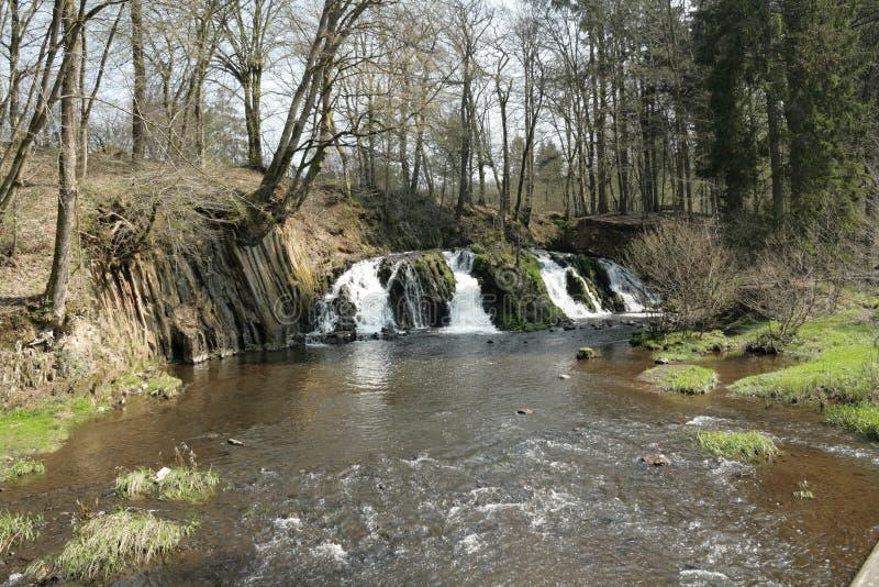 Blangy瀑布在Picardie,法国 免版税库存图片