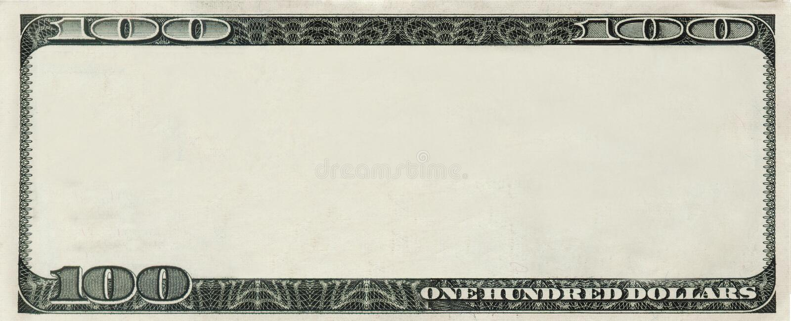 Blank 100 Dollars bank note with copyspace. Blank 100 Dollars bank note for design with copyspace