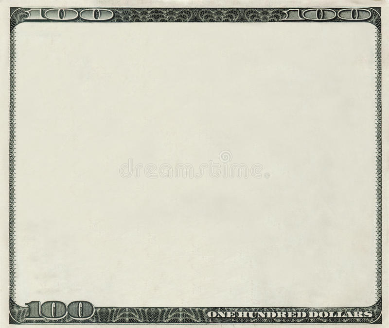 Download Blank 100 Dollars Bank Note With Copyspace Stock Illustration - Illustration: 11075357