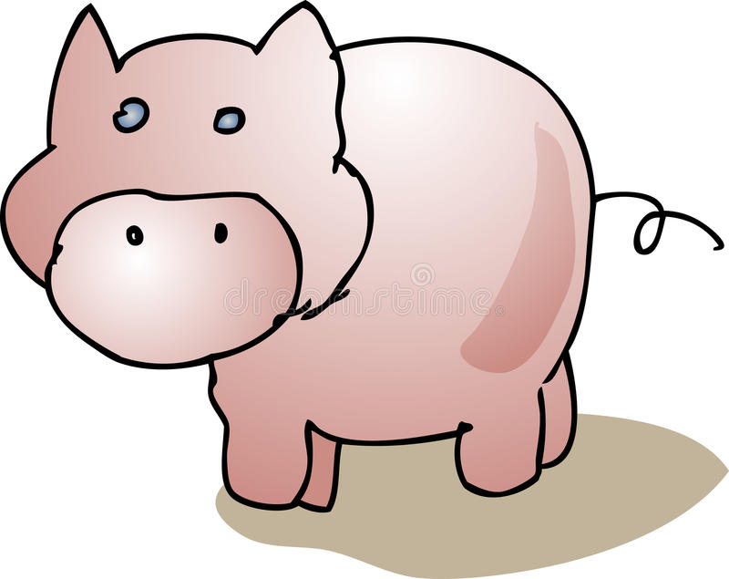Blank. Cute cartoon pig standing, farm animal illustration Vector illustration available for download. Click here for more vectors stock illustration
