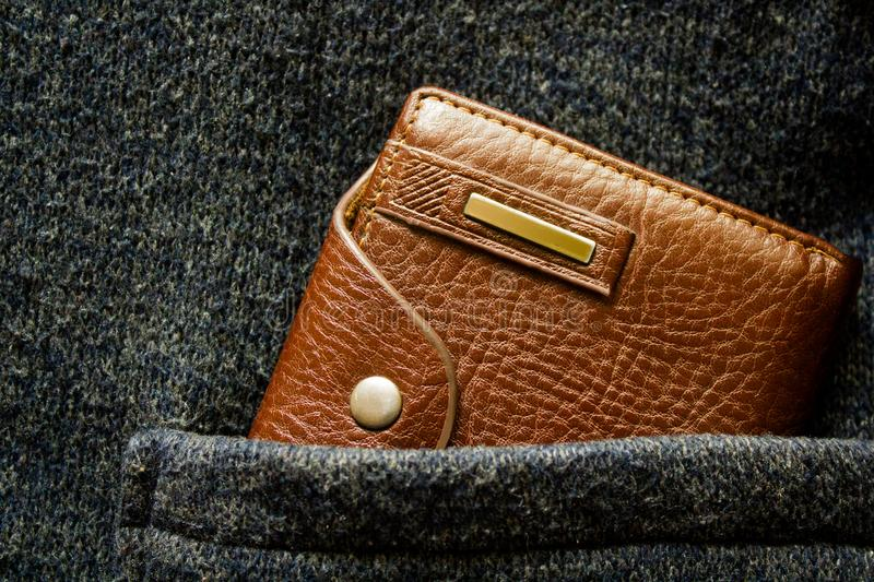 Blank, accessory, shopping, retro, jacket, woolen, buy, payment, cash, pay, economy, safe, euro, save, back, spend, dollar, busine. Brown leather men`s wallet stock images
