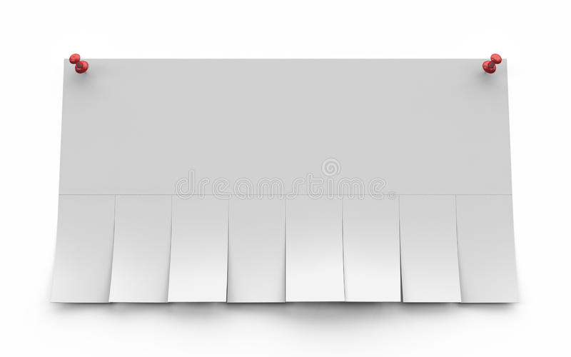 Blank advertisement with cut slips. 3d render royalty free illustration