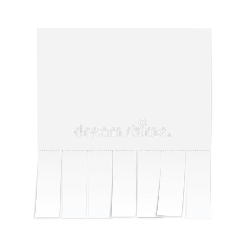 Blank advertisement with cut slips. Isolated on a white background royalty free illustration