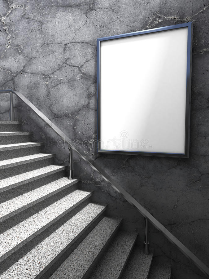 Blank advertising billboard mockup on concrete wall with ladder royalty free stock photo
