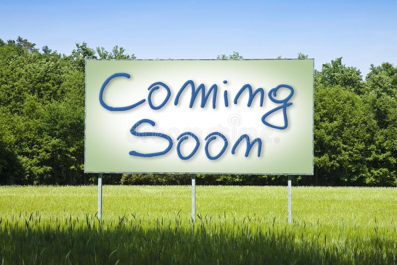 Blank advertising billboard in a rural scene with Coming Soon text written on it vector illustration