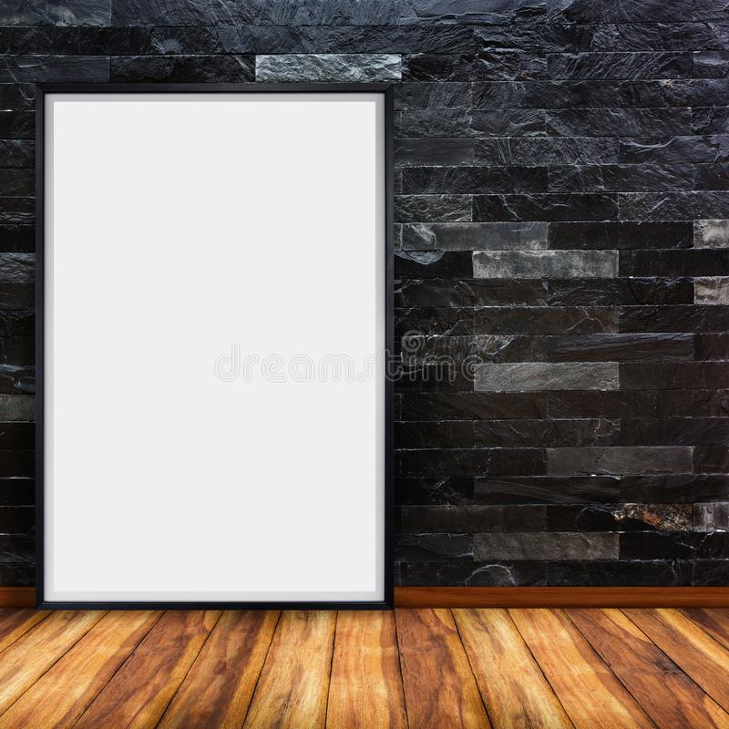 Blank advertising billboard on stone brick wall with wood floor background stock photo