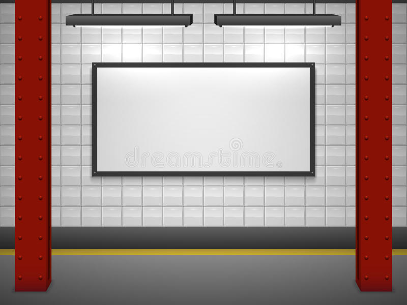 Blank advertising billboard at subway vector illustration