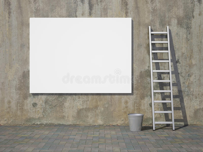 Download Blank Advertising Billboard On Wall Stock Illustration - Illustration of concrete, dirty: 21344102