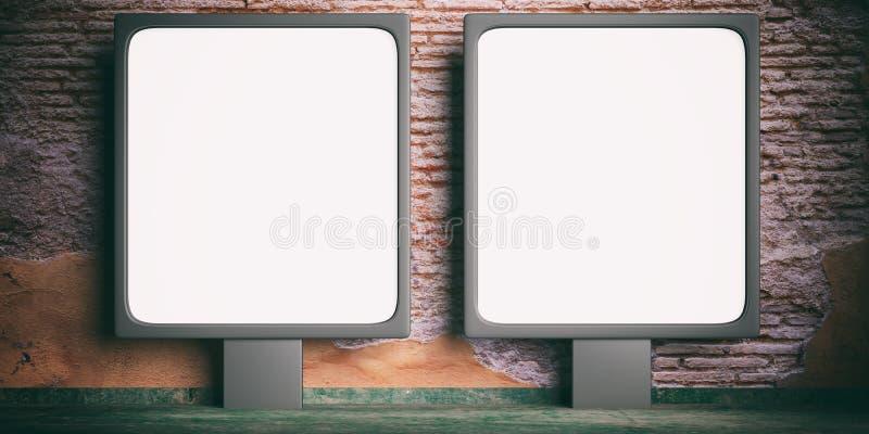 Blank advertising billboards on a brickwall background. 3d illustration stock illustration