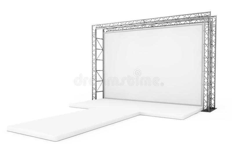Blank Advertising Outdoor Banner on Metal Truss Construction System with Empty Podium. 3d Rendering. Blank Advertising Outdoor Banner on Metal Truss Construction vector illustration