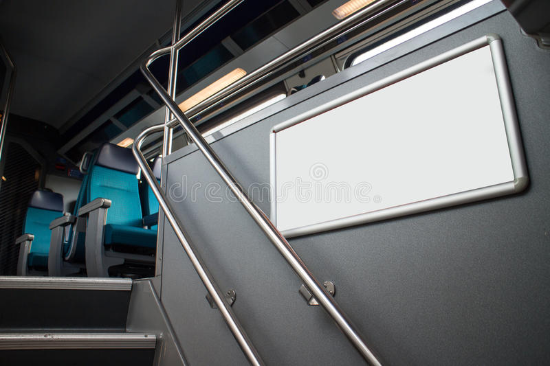 Blank advertising panel in train stock image