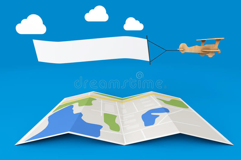 Blank Aerial Advertising. Wooden Toy Airplane with Empty Banner stock illustration