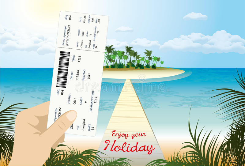 Blank airline boarding pass in hand royalty free illustration