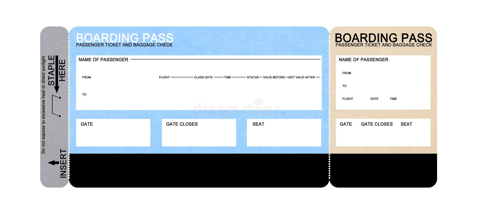 Blank airline boarding pass ticket stock image