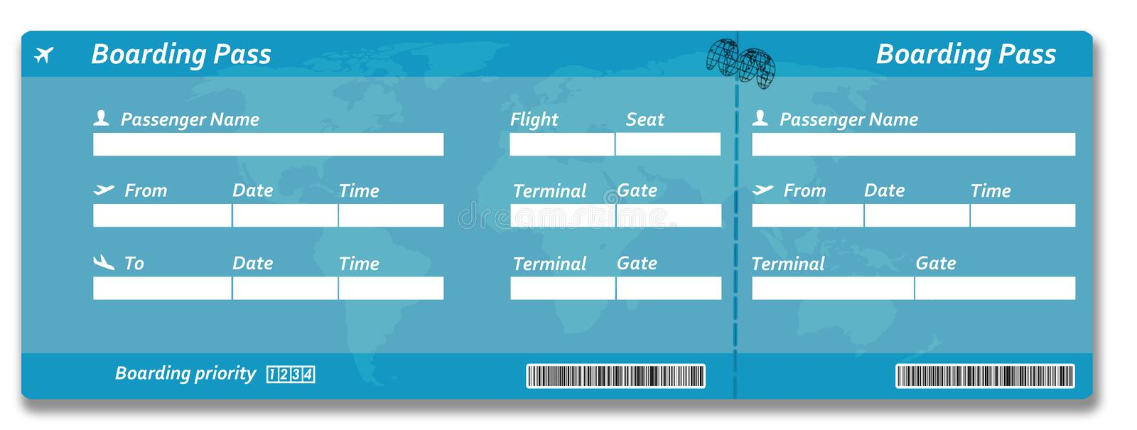 Blank airline boarding pass ticket vector illustration