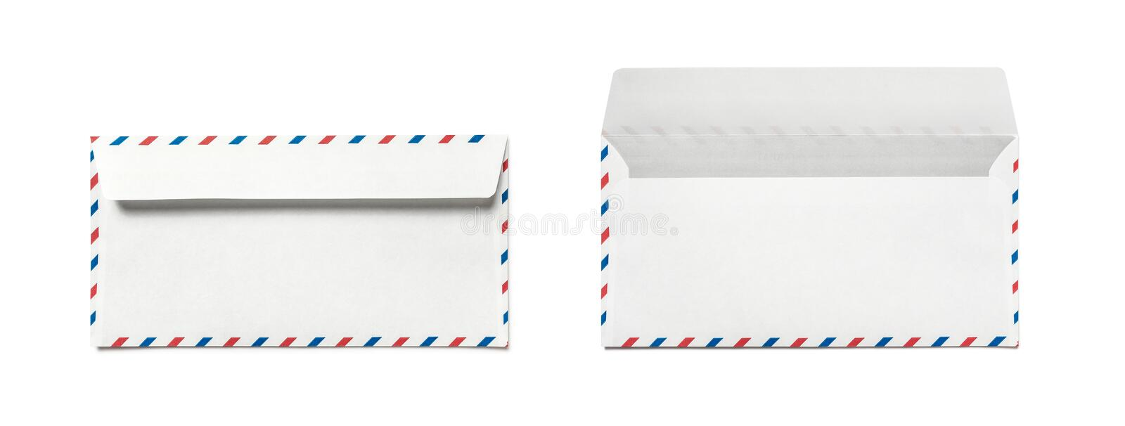 Blank airmail envelope isolated, rear view. Double back. royalty free stock image