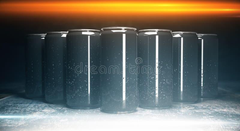 Blank aluminium beverage cans front stock illustration