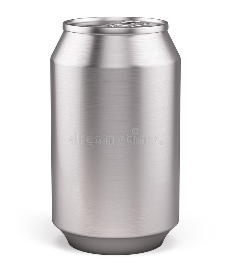 Blank Aluminium Can for beer, soft drinks, alcohol, soda, cola, juice, water isolated on white stock illustration