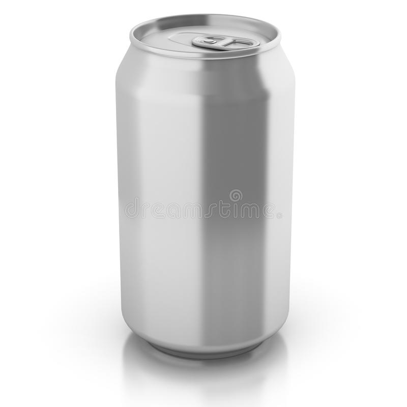 Blank aluminium can isolated on a white stock illustration