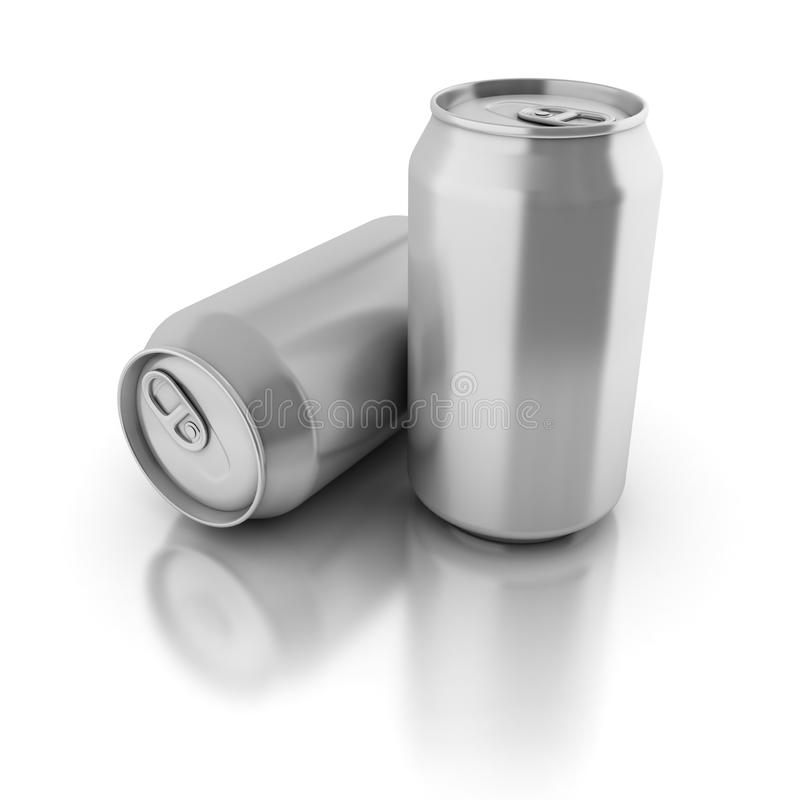 Blank aluminium cans on a white background royalty free illustration