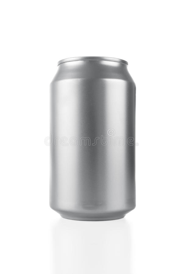 Blank aluminum can. Blank aluminum soda can isolared on white background royalty free stock photos