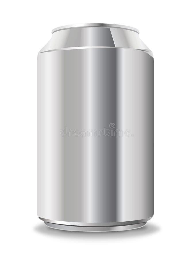 Blank aluminum can isolated on white stock illustration