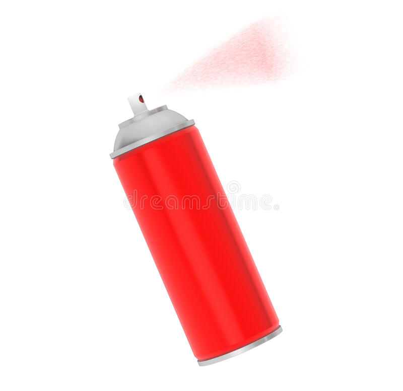 Blank Aluminum Red Spray Can. On a white background royalty free stock photo