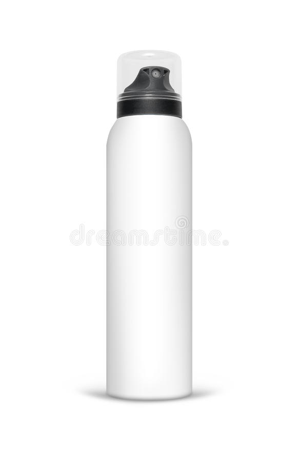 Blank aluminum spray can isolated on white background royalty free stock photos