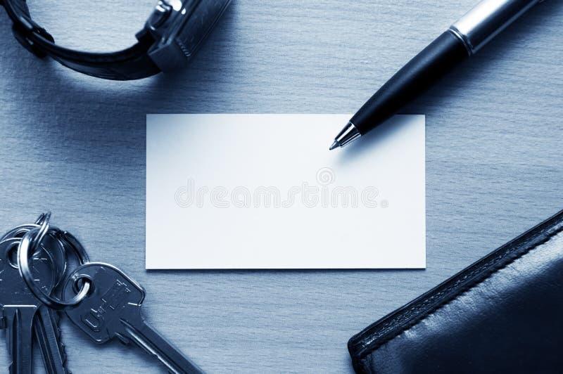 blank arbetsplats för affärskort arkivbild