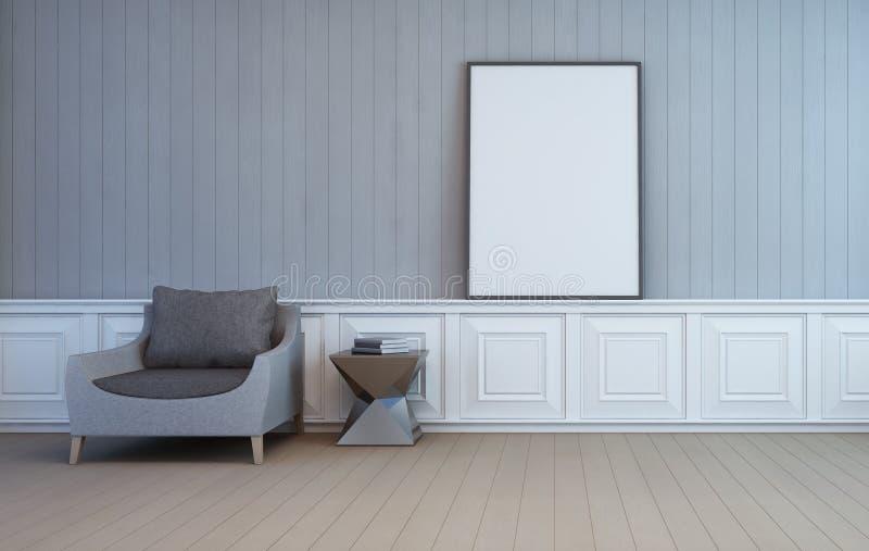 Blank art frame on wall of living room royalty free illustration
