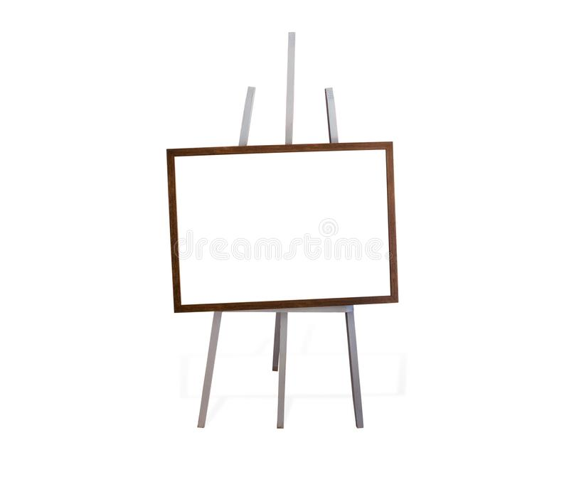 Blank art frame, wooden easel, front view. Isolated on white, included clipping path stock photos