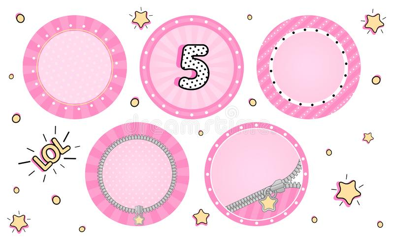 Set of cute vector LOL surprise cupcake toppers. Pink party stickers. royalty free stock photography