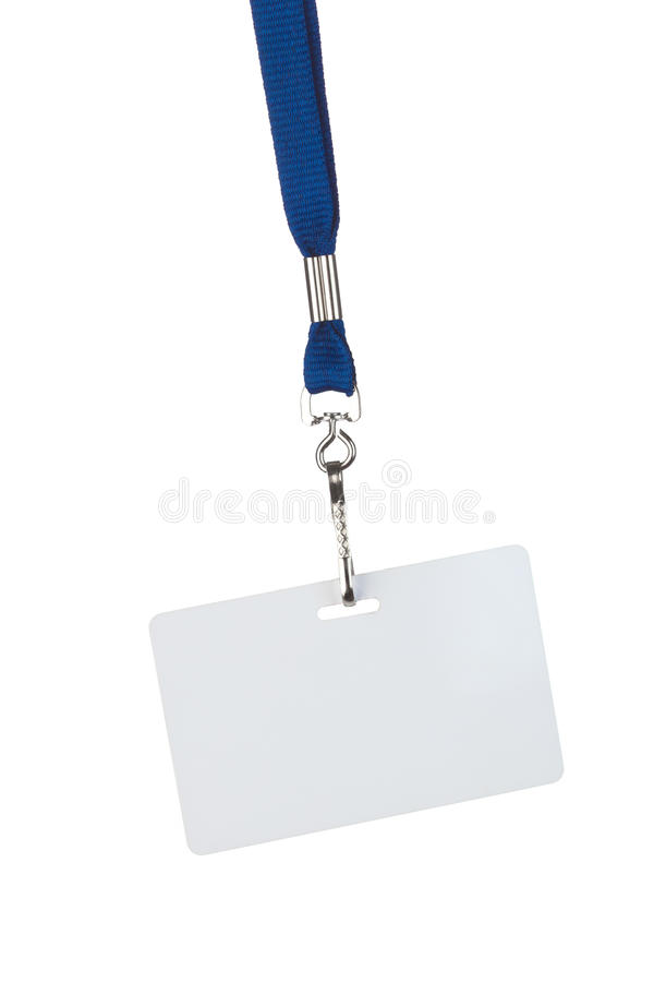 Blank badge on blue cord
