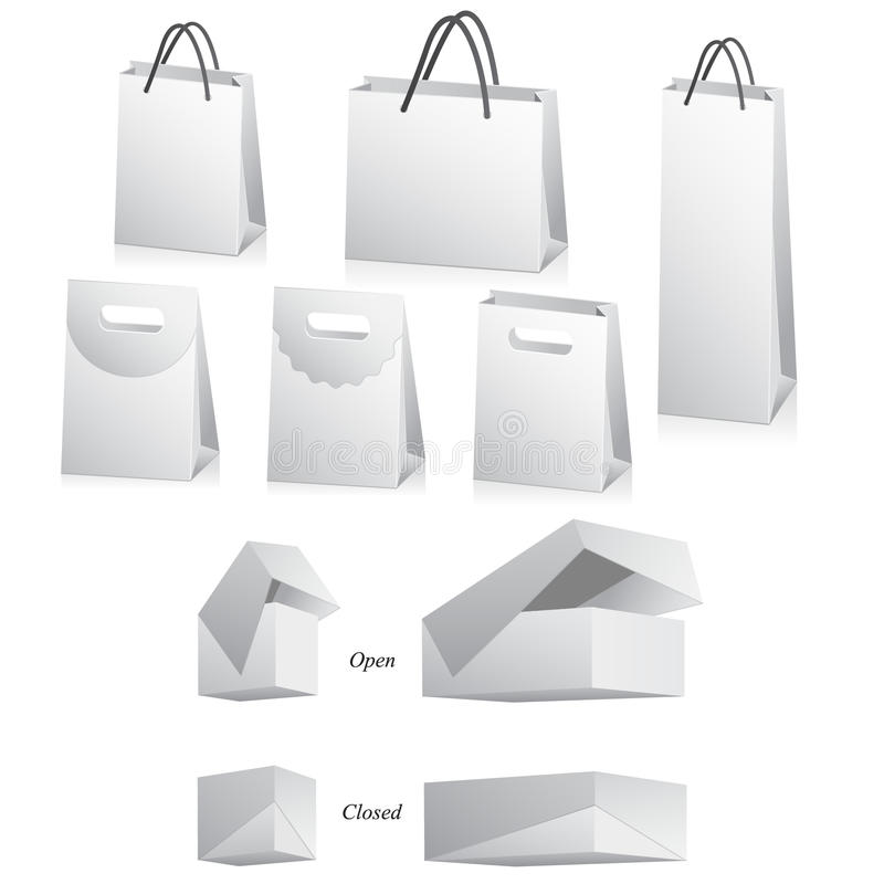 Blank bags and boxes on white royalty free illustration
