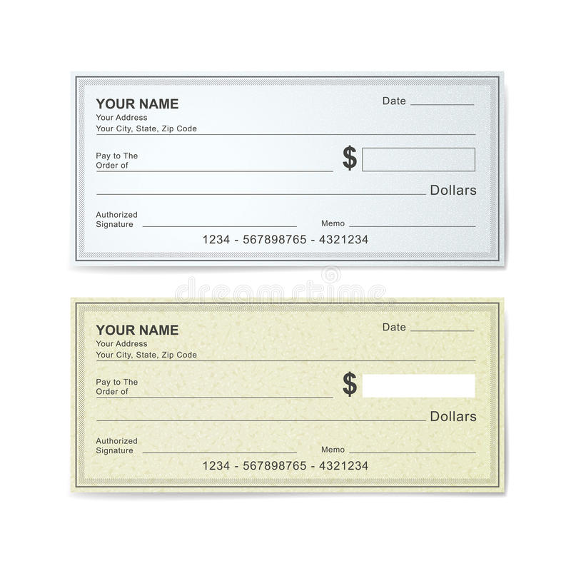 Blank bank check template royalty free illustration