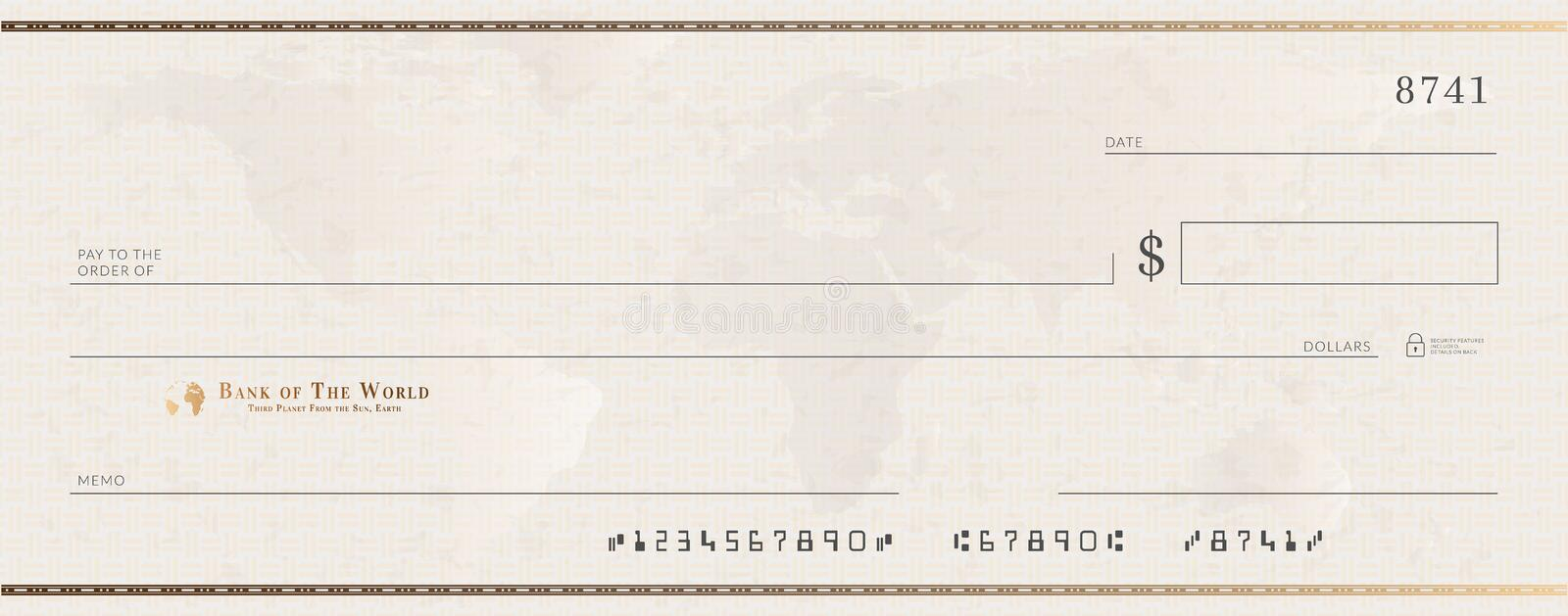 Blank bank golden cheque template. Check from checkbook stock illustration