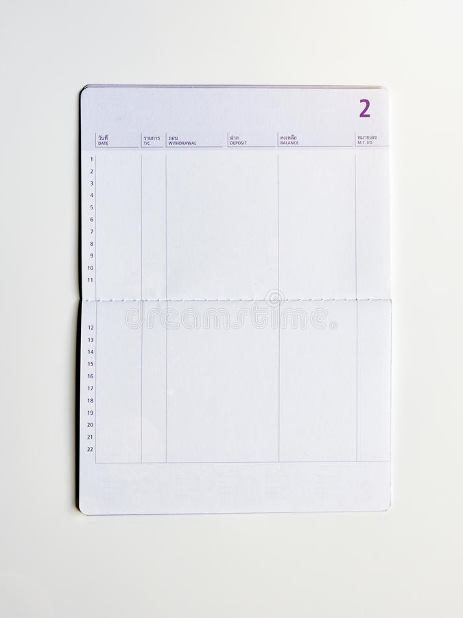 Blank bank saving account book. Money savings concept royalty free stock images