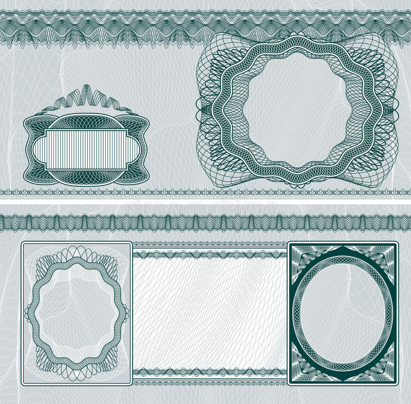 Blank banknote layout. Blank layout for banknote, bank check or voucher with obverse and reverse