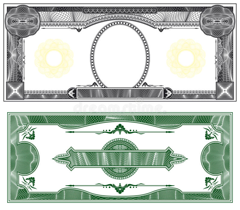 Blank banknote layout vector illustration